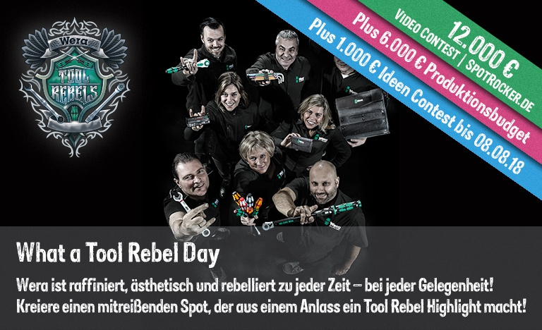Wera / SPOTROCKER: Neuer, rebellischer 19.000 Video Contest mit Extras